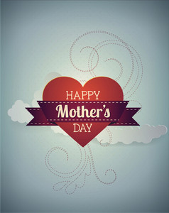 Mother's Day Vector Illustration With Clouds, Ribbon And Heart