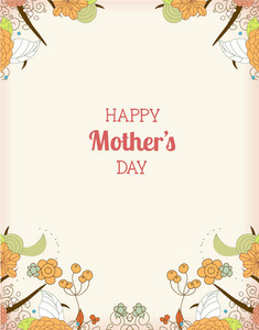 Mother's Day Vector Illustration With Doodle  Flowers