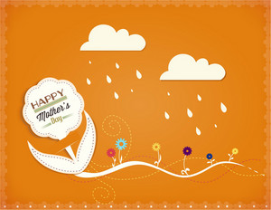 Mother's Day Vector Illustration With Doodle Sticker Flower And Sticker Clouds