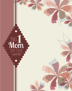 Mother's Day Vector Illustration With Flowers And Label