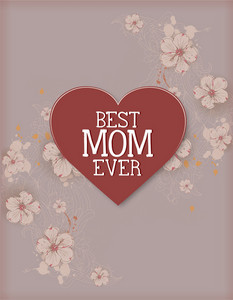 Mother's Day Vector Illustration With Hearts And Flowers