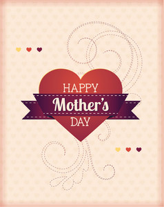 Mother's Day Vector Illustration With Ribbon And Heart