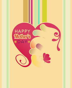 Mother's Day Vector Illustration With Spring Abstract Heart