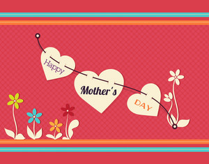 Mother's Day Vector Illustration With Spring Doodle Flower And Hearts