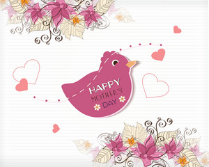 Mother's Day Vector Illustration With Spring Doodle Flowers And Bird