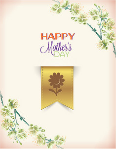 Mother's Day Vector Illustration With Spring Doodle Flowers And Bookmark