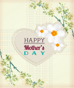 Mother's Day Vector Illustration With Spring Doodle Flowers And Heart