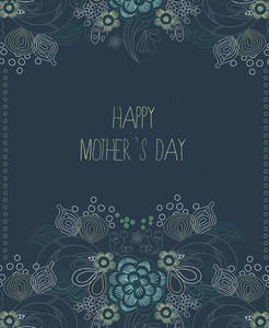 Mother's Day Vector Illustration With Spring Doodle Flowers