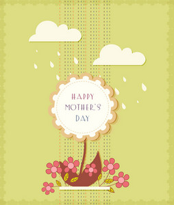 Mother's Day Vector Illustration With Spring Flowers And Clouds