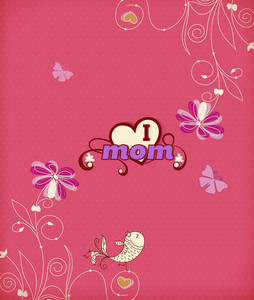 Mother's Day Vector Illustration With Spring Flowers And Doodle Bird