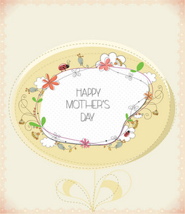 Mother's Day Vector Illustration With Spring Flowers  And Doodle Frame