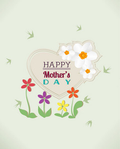Mother's Day Vector Illustration With Spring Flowers And Heart