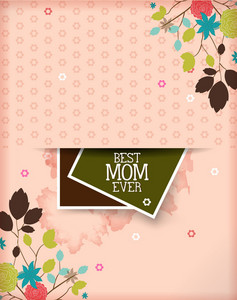 Mother's Day Vector Illustration With Spring Flowers And Photo Frame