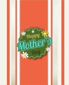Mother's Day Vector Illustration With Spring Flowers And Retro Badge