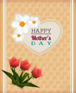 Mother's Day Vector Illustration With Spring Flowers And Sticker Heart