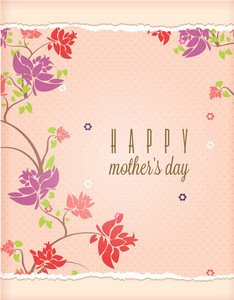 Mother's Day Vector Illustration With Spring Flowers And Torn Paper