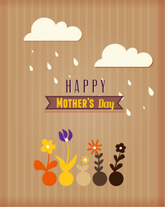 Mother's Day Vector Illustration With Spring Flowers, Ribbon And Clouds