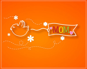Mother's Day Vector Illustration With Sticker Doodle Bird And Doodle Ribbon