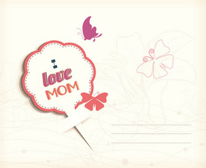 Mother's Day Vector Illustration With Sticker, Flowers, Butterflies