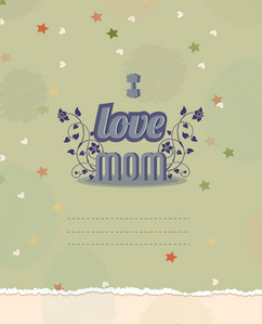 Mother's Day Vector Illustration With Torn Paper