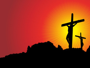 Mountain Background With Jesus In Cross