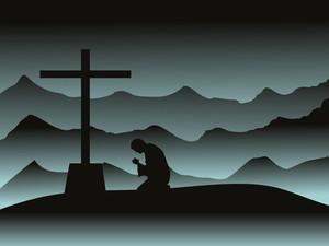 Mountain Background With Man Praying In Night