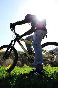 Mountain Biker in action, summer sunshine