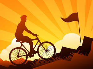 Mountain Biking Vector Illustration