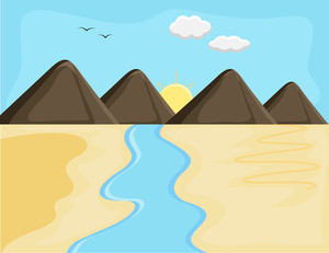 Mountain Ladscape - Cartoon Background Vector