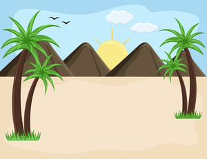 Mountain Landscape - Cartoon Background Vector