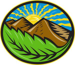 Mountains Leaf Sunburst Retro