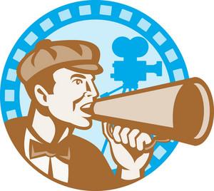 Movie Film Director With Bullhorn And Camera Retro