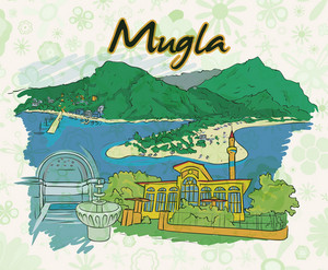 Mugla Doodles With Floral Vector Illustration