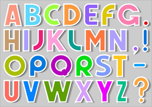 Multicolor Alphabet Stickers