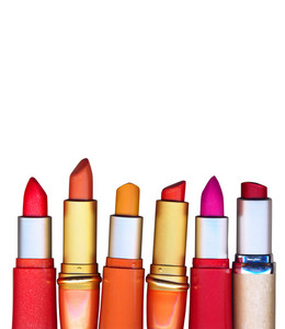 Multicolored Lipsticks Isolated On White