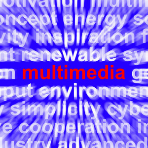 Multimedia Word Showing Digital Technology For Movies And Broadcasting