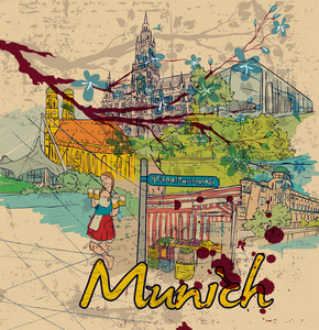 Munich Doodles Vector Illustration