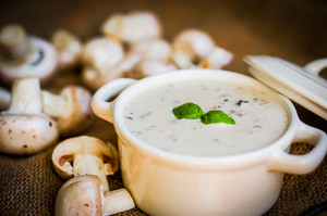 Mushroom Soup In White Bowl