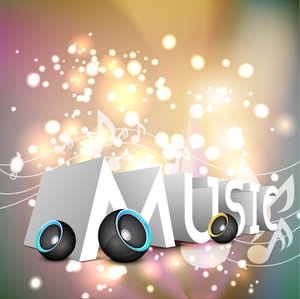 Music Abstract Background With Colorful Speakers