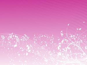 Music Background With Different Notes An Floral On The Pink
