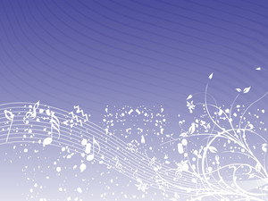 Music Background With Different Notes An Floral On The Purple