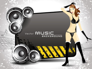 Music Banner Or Poster With Shiney Speakers And A Sexy Girl Dancing.