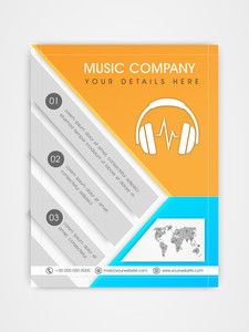 Music Company template brochure or flyer design with place holders for your content.