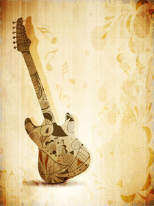 Music Concept With Guitar On Vintage Background
