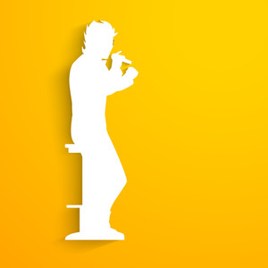 Music Concept With White Silhouette Of A Singer Singing Into Microphone On Yellow Background