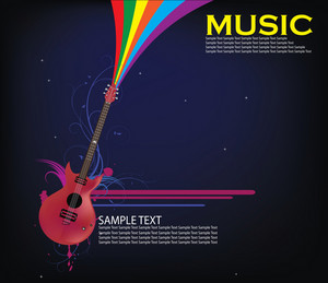 Music Illustration Of A Guitar With Grunge
