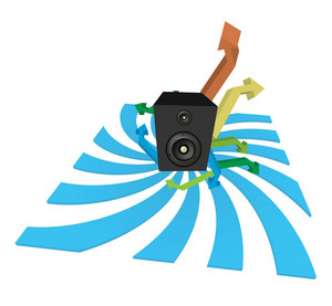 Music Illustration Of A Speaker With Arrows