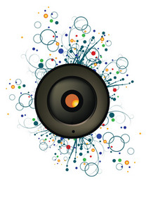 Music Illustration Of A Speaker With Grunge And Floral