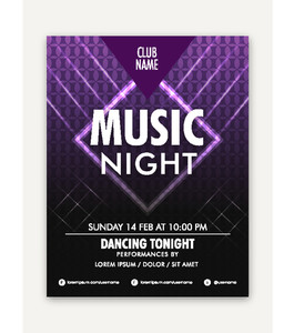 Music Night Party celebration elegant one page Flyer Banner or Template design.