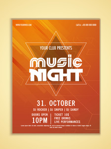 Music Night Party celebration flyer banner or tempalte in abstract orange color.
